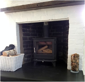 woodburner with slate hearth